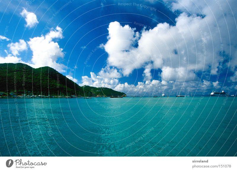 Water Sky Ocean Green Blue Beach Vacation & Travel Coast Island Virgin forest Bay Turquoise Watercraft Caribbean Sea Lesser Antilles Cruise liner