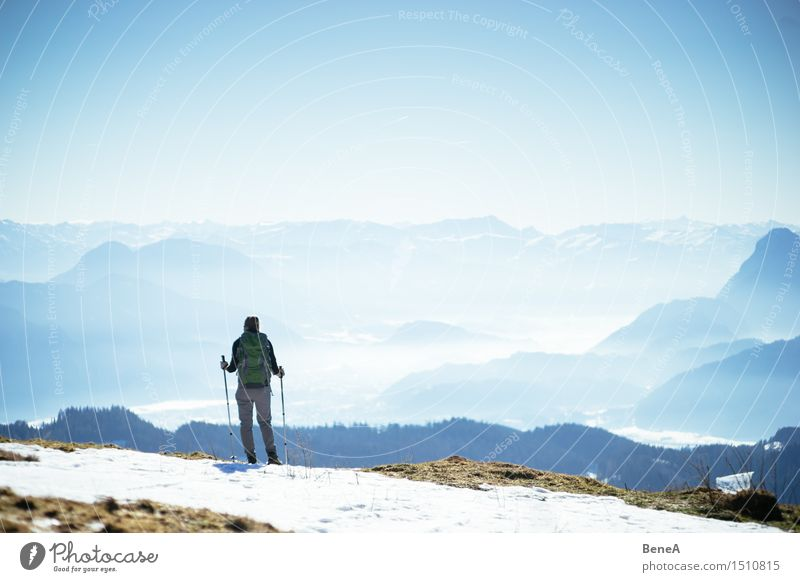mountain Vacation & Travel Trip Expedition Winter Snow Winter vacation Mountain Hiking Climbing Mountaineering Sportsperson Human being Feminine Woman Adults 1