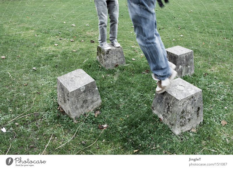 hopping box 3D Lawn Park Stone Block Hop Jump Human being Legs Feet Playing Romp 4 Cologne Cold Movement Garden Rhine turf