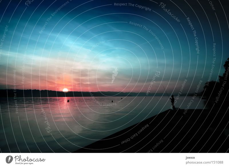 Man Water Sky Calm Far-off places Relaxation Lake Horizon Sunset Lakeside Fishing (Angle) Angler Fishing rod Zurich Canton Zürich Closing time