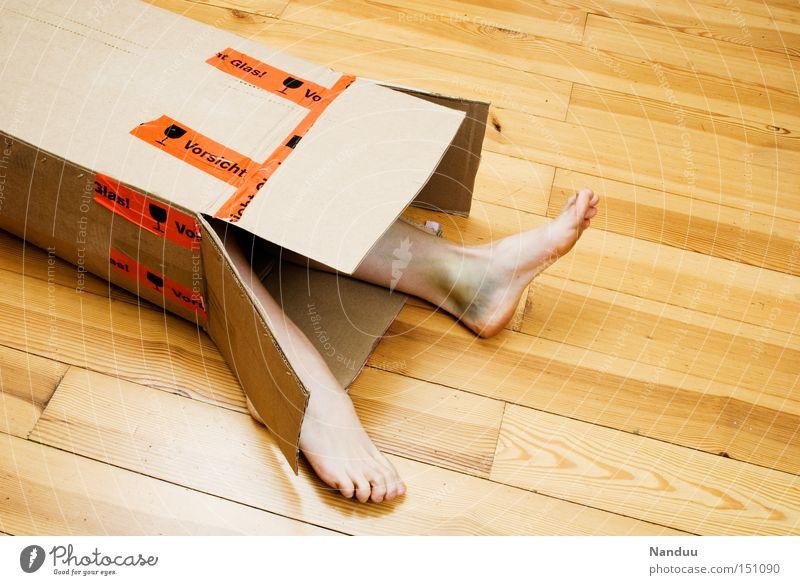 Human being Legs Feet Lie Broken Ground Floor covering Packaging Logistics Mail Crate Carton Feeble Parquet floor Fragile Package