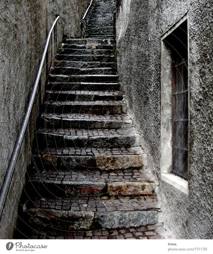 staircase joke Old town Wall (barrier) Wall (building) Stairs Window Stone Historic Transience Pave Upward Narrow Alley Plaster Handrail Colour photo