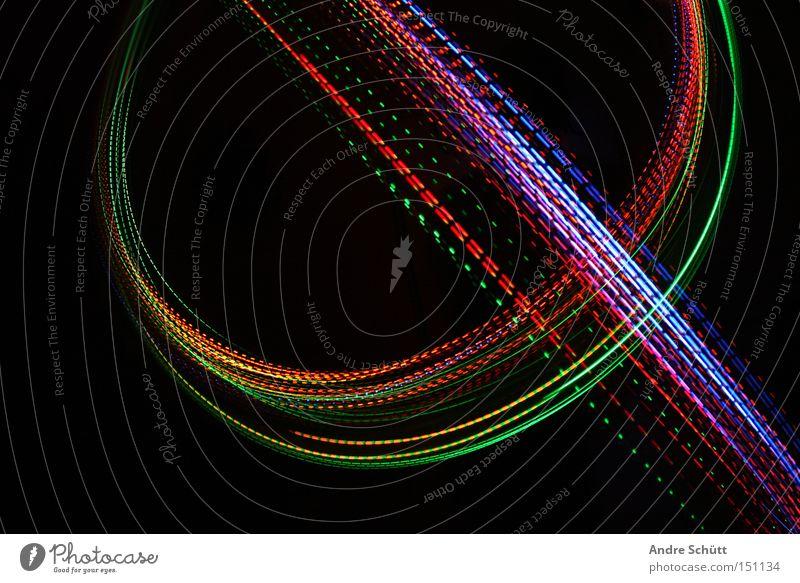 Green Blue Red Black Colour Orange Tracks Curve Light Tracer path