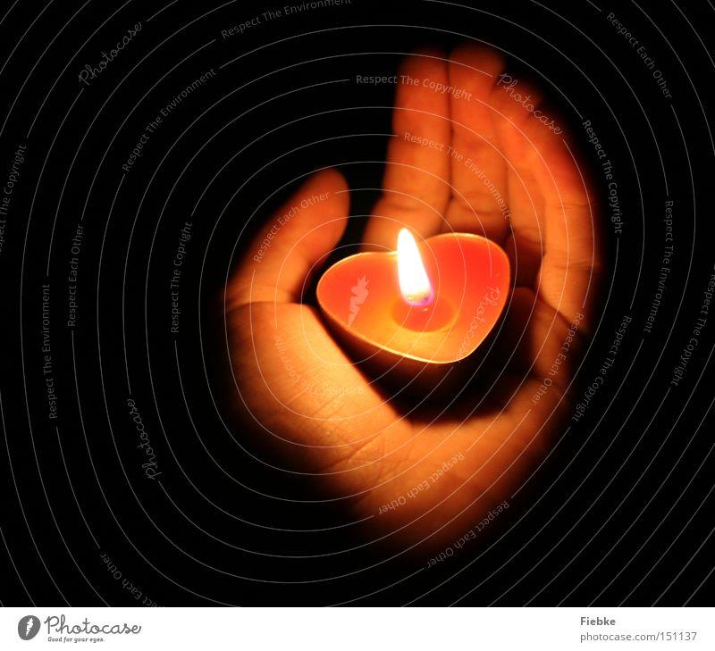 Light Christmas & Advent Hand Feasts & Celebrations Love Human being Dark Moody Lighting Heart Blaze Fingers Fire Hope Candle Romance