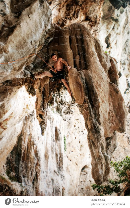 Climbing in Tonsai Beach Thailand Vacation & Travel Tourism Adventure Summer vacation Mountain Sports Fitness Sports Training Mountaineering Human being
