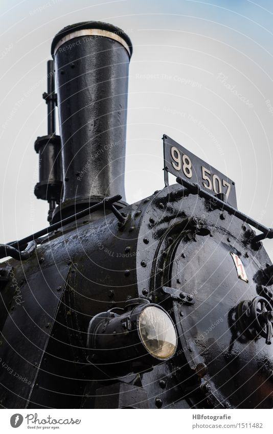 tractive power Engines Rail transport Strong Black Steamlocomotive Chimney Smoke Engine driver Railroad Colour photo Exterior shot Day
