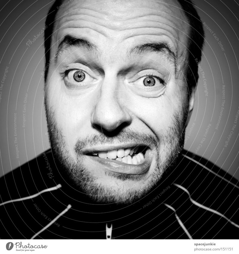 TV friend Man Portrait photograph Black & white photo Crazy Television TV set Nerviness Excitement Joy