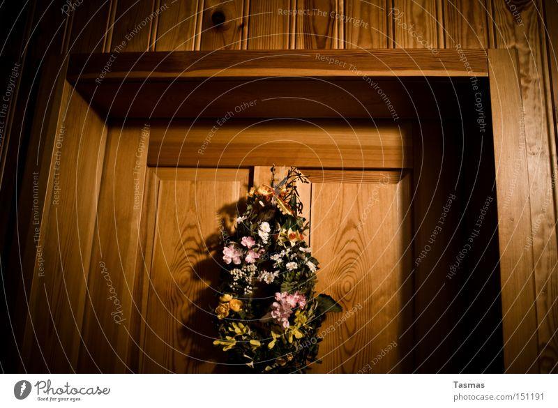 *knock* *knock* Door Entrance Jewellery Wood Wooden door Flower Detail Decoration Bouquet Flower arrangement Living or residing threshold
