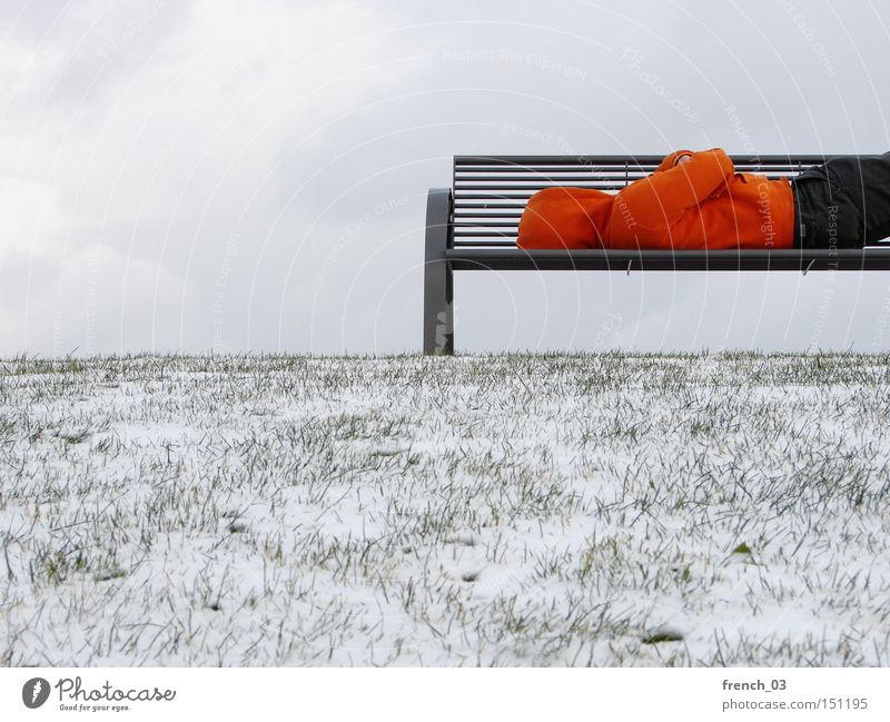 Human being Loneliness Winter Cold Sadness Snow Park Wait Sleep Hope Bench End Services Hooded (clothing) Crisis Homeless