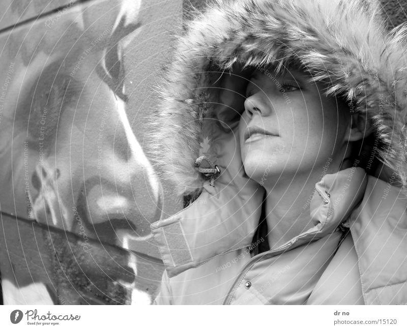 in grey Woman Gray Winter Head Black & white photo graffiti
