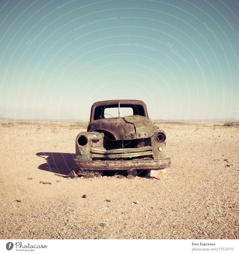 desert cruiser Adventure Nature Landscape Sand Warmth Drought Desert Car Rust Old Broken Gloomy Dry Senior citizen Loneliness End Apocalyptic sentiment Eternity
