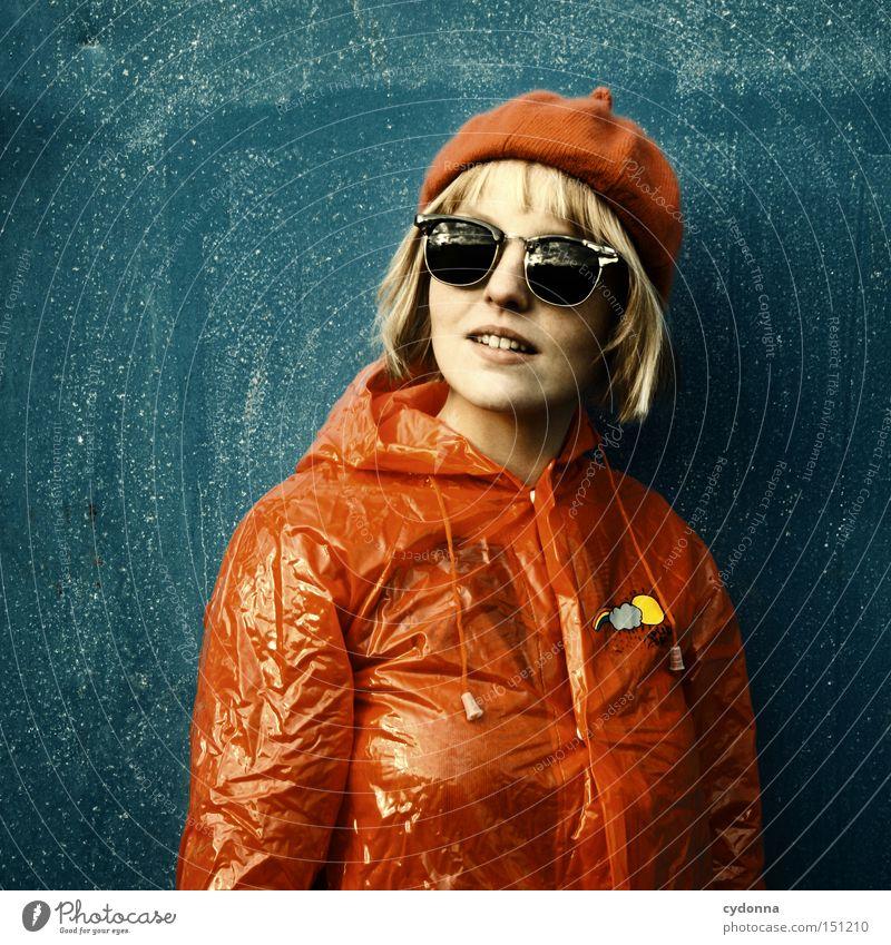 Woman Human being Beautiful Joy Life Emotions Style Rain Clothing Esthetic Retro Protection Nostalgia Rain wear Rain jacket
