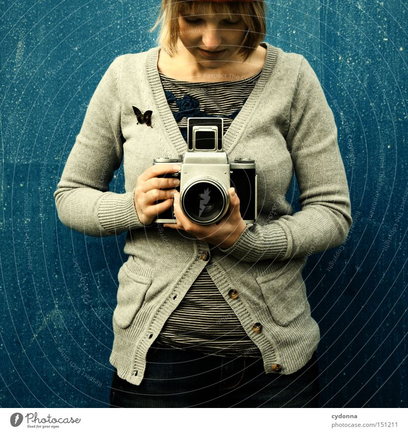 camera attendant Retro Nostalgia Style Human being Woman Clothing Life Emotions Photographer Joy Camera Medium format Pride Take a photo Photographic technology