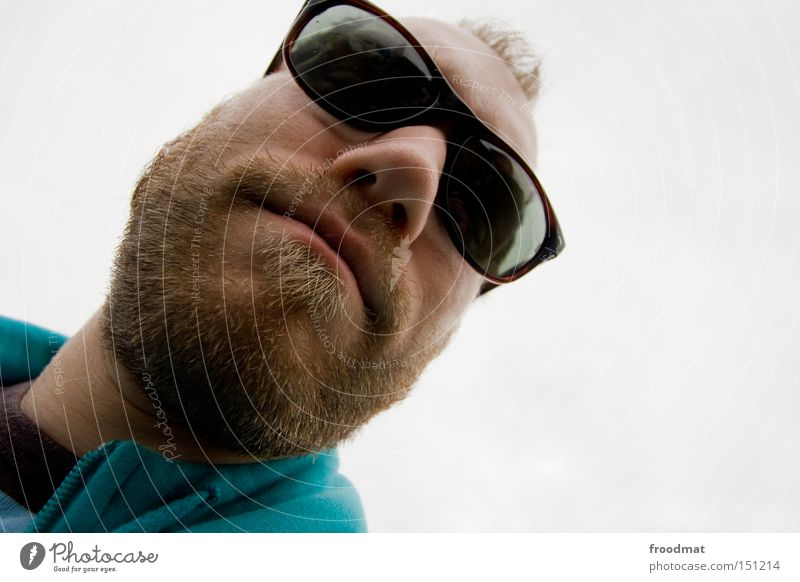 Is cool man Facial hair Hongkong Face Man Sunglasses Cool (slang) Wide angle Mouth Easygoing Summer froodmat Crazy Nose Head Distorted Fusion