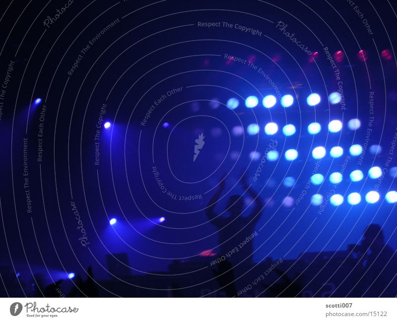 Hands up! Disc jockey Light Party Techno Group Blue Floodlight Music