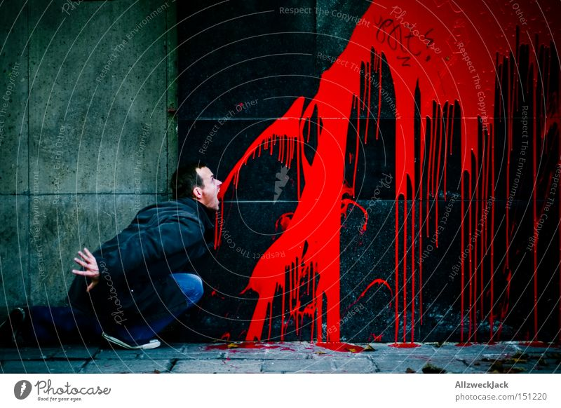Red Colour Graffiti Wall (building) Facade Blood Devil Mural painting Vandalism Vomiting Spit