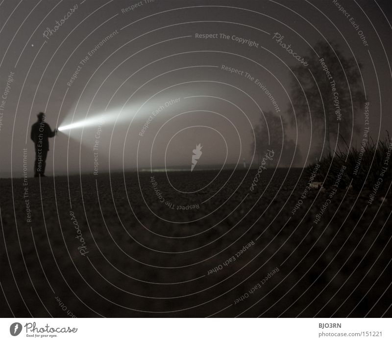 Human being Man Tree Loneliness Dark Fog Radiation Night