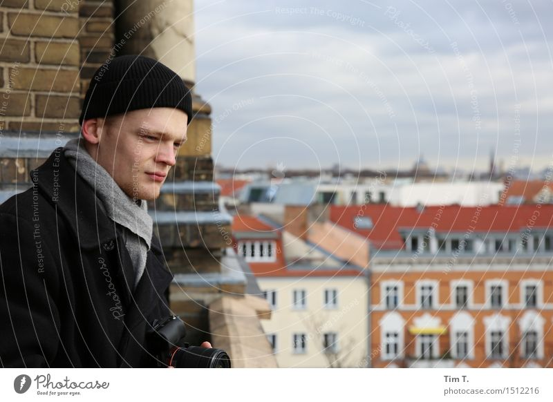 Man looking out Human being Masculine 1 18 - 30 years Youth (Young adults) Adults Prenzlauer Berg Town Capital city Downtown Old town Skyline