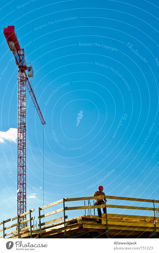 Sky Man Germany Work and employment Beautiful weather Break Construction site Craft (trade) Crane Construction worker Craftsperson Scaffold Scaffolding Working man Lunch hour