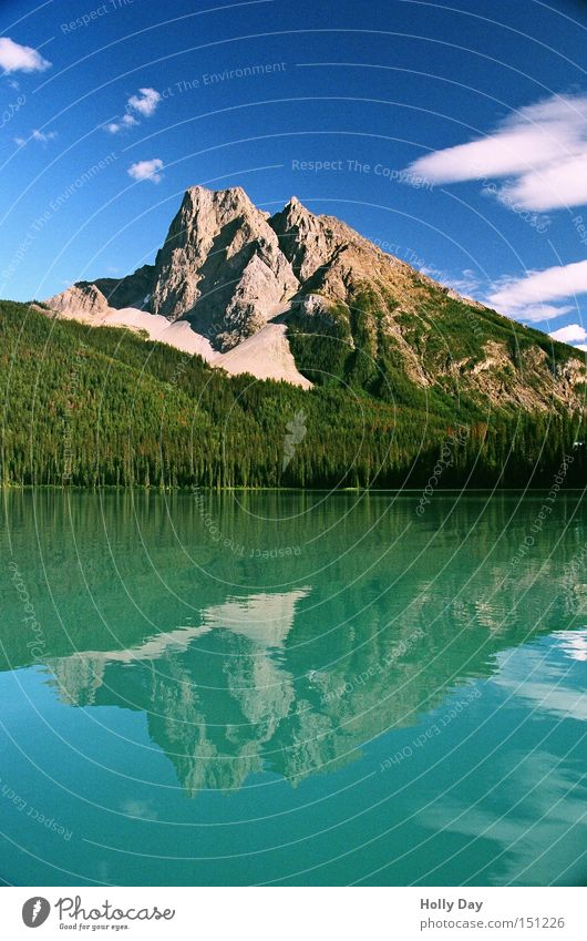 (water) mountain Colour photo Multicoloured Exterior shot Deserted Copy Space bottom Day Reflection Long shot Mountain Water Clouds Coast Lake Blue Green Canada