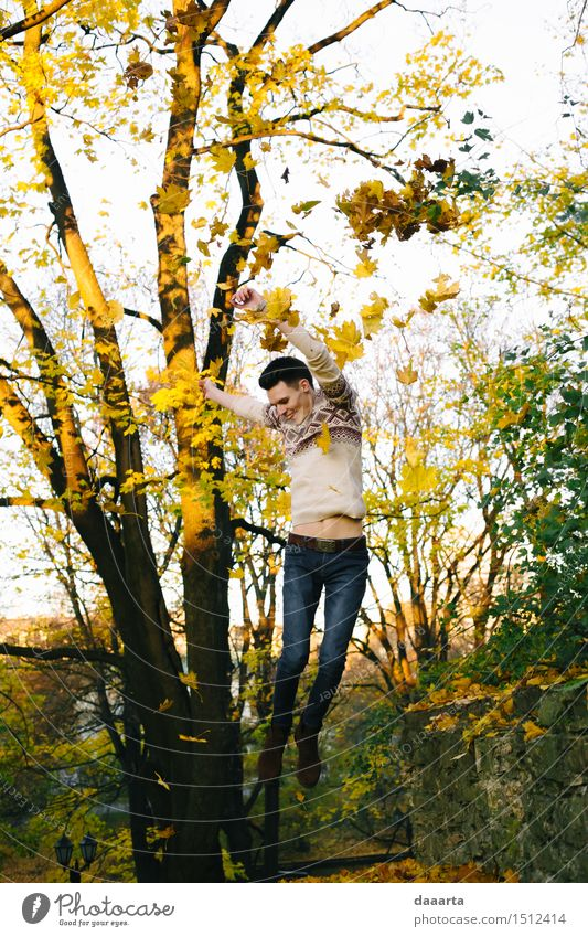 jump in autumn Nature Vacation & Travel Youth (Young adults) Tree Young man Leaf Joy Life Emotions Autumn Style Playing Lifestyle Garden Feasts & Celebrations Freedom