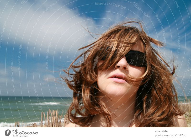 Woman Beautiful Ocean Joy Beach Clouds Hair and hairstyles Eyeglasses Waves Lips Sunglasses North Sea