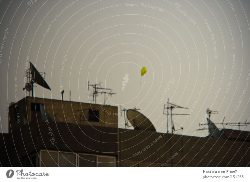 Hope is yellow Cairo Egypt Balloon Flying Antenna Satellite dish Freedom Drift Dream Facade Yellow Really Escape Curse Africa Peace Derelict Aviation