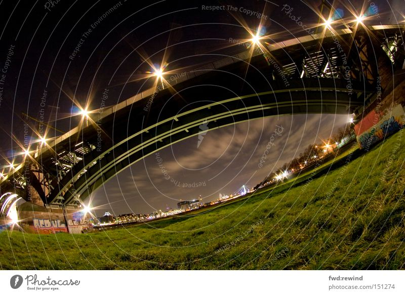 Stargate Bridge Fisheye Night Worm's-eye view Cologne Long exposure Green Lawn Meadow Sky Clouds Steel Light Electricity Night shot Architecture