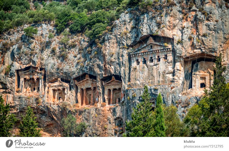Kaunian rock tombs from Dalyan, Ortaca, Turkey Body Mountain Culture Rock Town Ruin Places Building Stone Old Historic Death Colour Society Tradition Horizontal