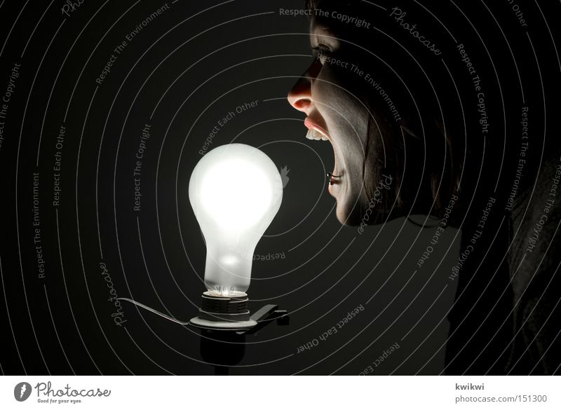 Woman Black Adults Dark Bright Lamp Exceptional Electricity Technology Whimsical Scream Long-haired Electric bulb Eerie Electronic Electrical equipment