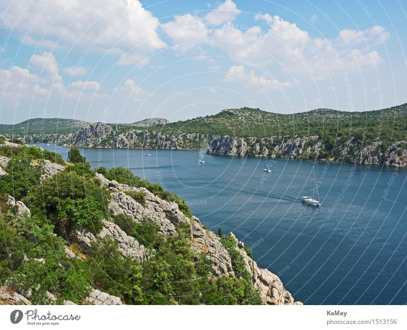 slow motion Vacation & Travel Tourism Trip Freedom Summer Summer vacation Sports Sailing Nature Landscape Water Sky Clouds Beautiful weather River bank Krka