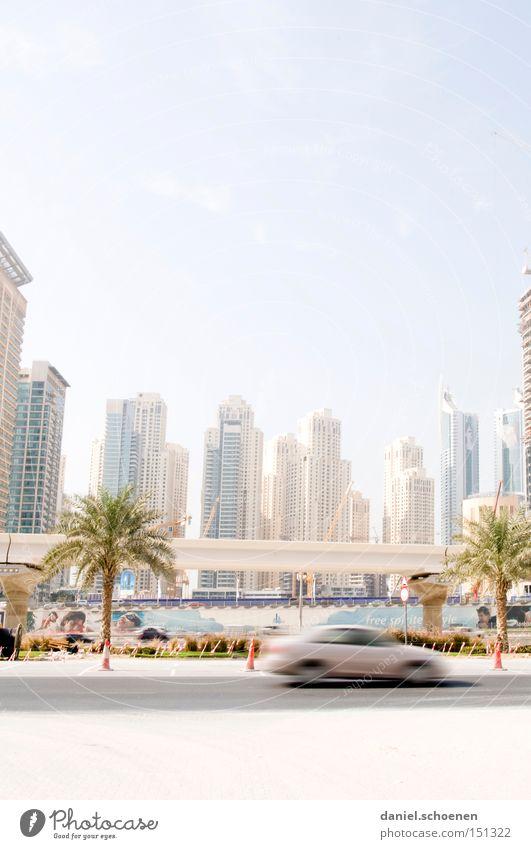 Metropolis 3 Dubai Town Skyline High-rise Movement Transport Motor vehicle Street Living or residing Flat (apartment) Arabia Maturing time Modern Car Growth