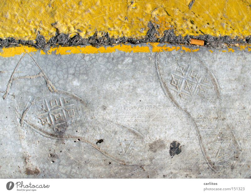 Yellow Street Gray Line Concrete Tracks Obscure Footprint Rubber boots Roadside Street sign Clearway Fossil Archeology Cigarette Butt