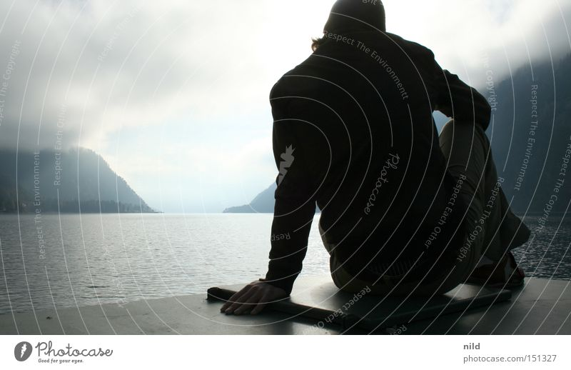 should I stay Lake Achensee Federal State of Tyrol Man Silhouette Calm Switch off Meditation Back-light Mountain Bad weather Indecisive Concentrate