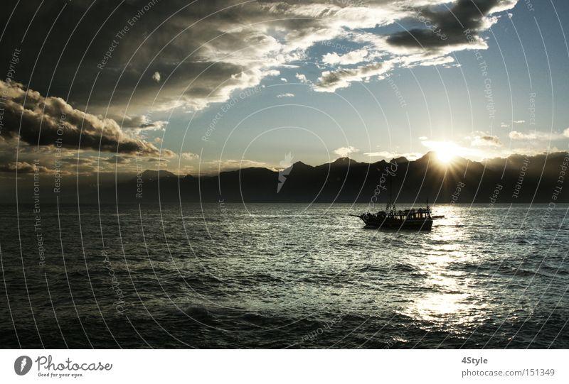 Ocean Clouds Dark Mountain Lake Watercraft Threat Bad weather