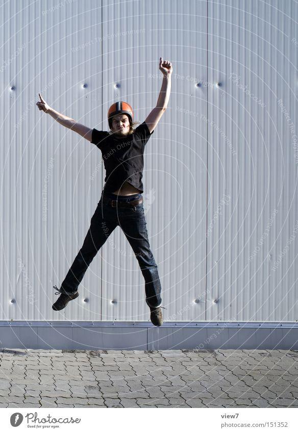jump. Man Human being Fellow Jump Helmet Tall Above Movement Frozen Old GDR Facial expression Arm Legs Joy Funsport Snapshot