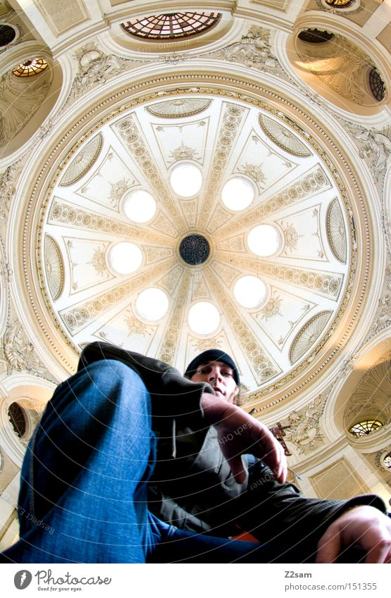 round about Round Domed roof Light Worm's-eye view Man Human being Looking Easygoing Old Architecture baroque Long exposure lanzeit exposure Stage play