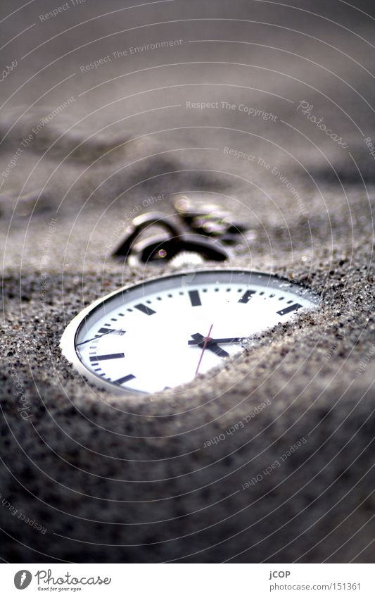 timeless part I Time Clock Fob watch Lose Doomed Sand Beach Miss Discover Clock hand Heap Concealed Macro (Extreme close-up) Close-up