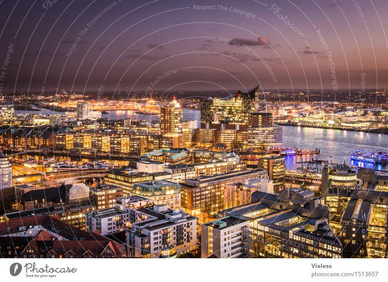 Big City Lights IV Hamburg Night Harbour clearer Sea of light Long exposure Sunset Elbe Illuminated Twilight Elbe Philharmonic Hall