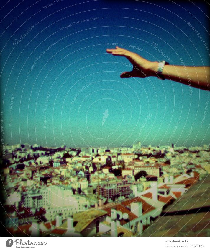 Hand Sky Blue City House (Residential Structure) Far-off places Landscape Architecture Horizon Vantage point Roof Portugal Lisbon
