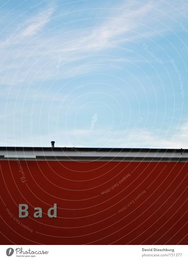 Sky Blue Red Wall (building) Line Swimming & Bathing Characters Roof Letters (alphabet) Swimming pool Bathroom Typography Word Blue sky Section of image