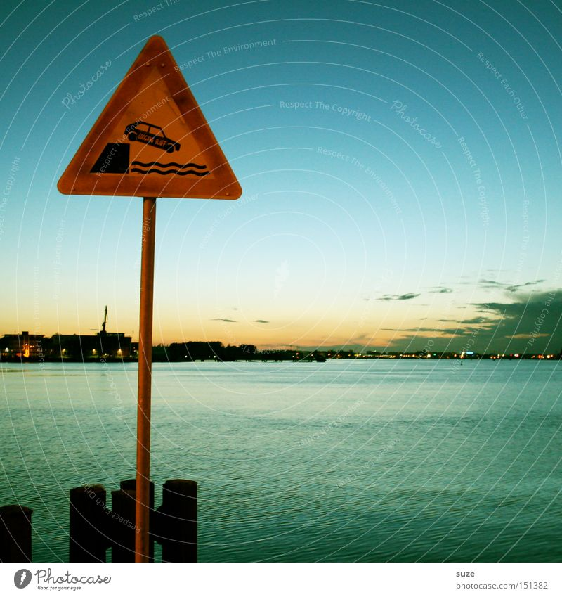 Careful, Kai! Environment Sky Clouds Horizon Coast Baltic Sea Ocean Harbour Transport Motoring Street Road sign Sign Signs and labeling Signage Warning sign