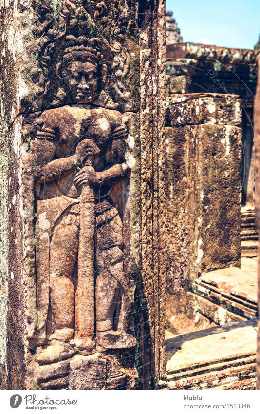 Ruins of Angkor Thom in Cambodia Vacation & Travel Old Tree Architecture Religion and faith Building Stone Earth Rock Park Tourism Wild Culture Historic Asia