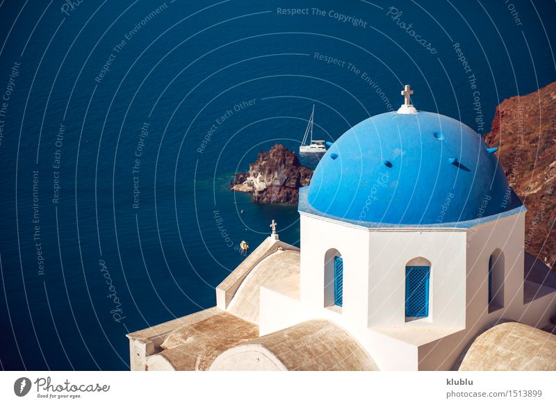 Greece, Santorini island, Oia village, White architecture Sky Nature Vacation & Travel City Blue Beautiful Summer White Ocean Landscape House (Residential Structure) Mountain Architecture Religion and faith Building Rock