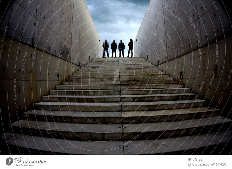 Man Sky Dark Group Friendship Moody Concrete Stairs Modern 4 String Musician Band Concrete wall