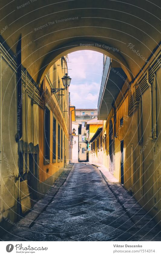 Arch on the old narrow street with yellow facades Vacation & Travel Summer House (Residential Structure) Lamp Village Small Town Building Architecture Facade