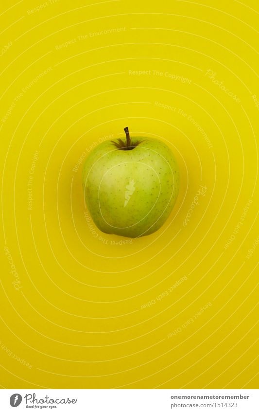 Jammy apple on yellow Art Work of art Esthetic Apple Apple harvest Apple skin Yellow Delicious Healthy Healthy Eating Vitamin-rich Vitamin C Bright green