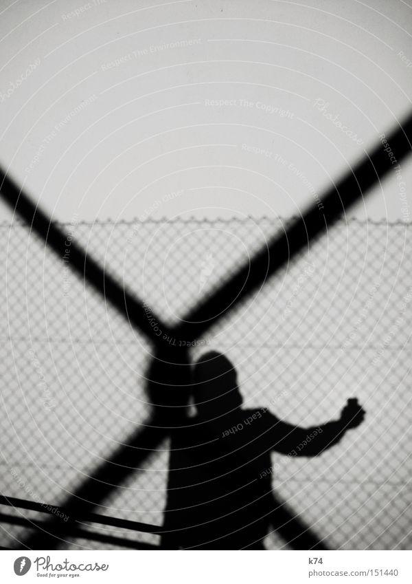 x-mas Shadow Light Human being Man Knot Node Reticular Fence Contact Black & white photo Exterior shot