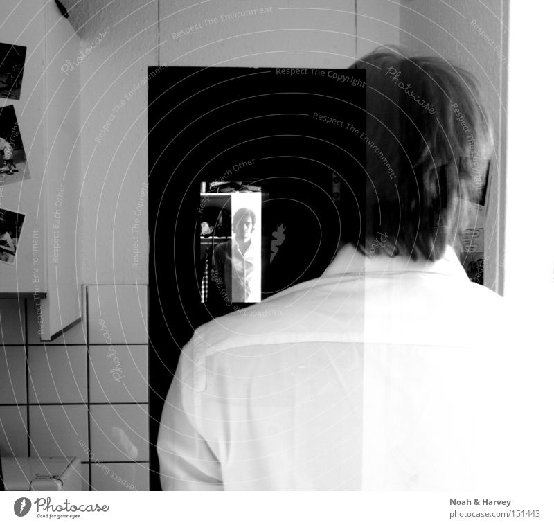 My life as a spirit Transparent Mirror Mirror image Black & white photo Contrast Introspection Perspective Doubt oneself