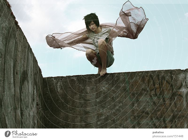 ravengirl Wind Free Hair and hairstyles Wall (barrier) Wall (building) Ruin Climbing Fantasy Movement Dynamics Might Dance Woman Conquer Exterior shot